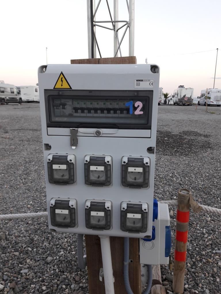 A power box on a commercial aire in Spain.